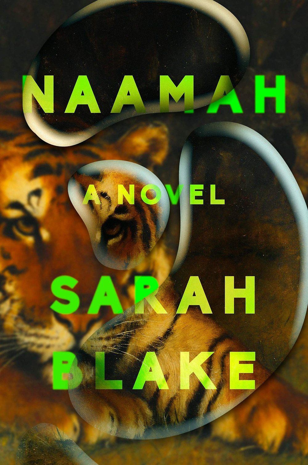 Naamah By Sarah Blake 306 pages. 2019. tiger book cover neon green font writing thebookslut book reviews the book slut