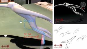 汽車設計師羅偉基設計的〈翔猴〉雕塑,流線動態感十足