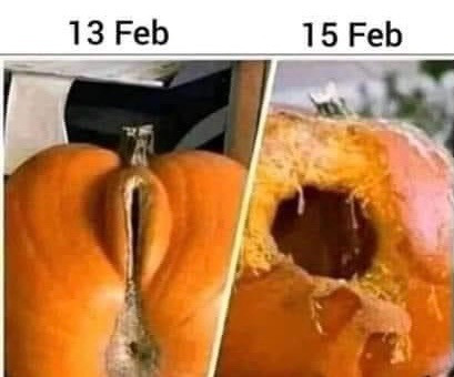 Feb 13 vs Feb 15 Pumpkins Meme