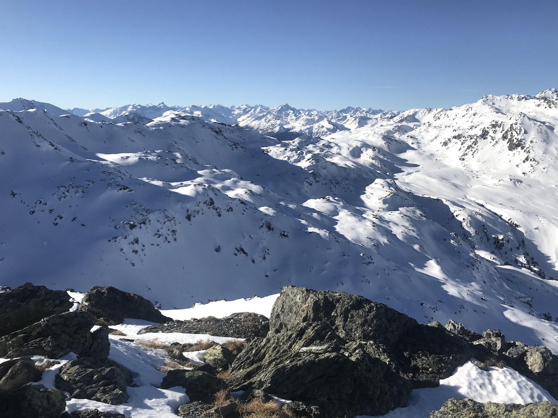 Panoramablick am Gipfel, Skitour Moelserberg