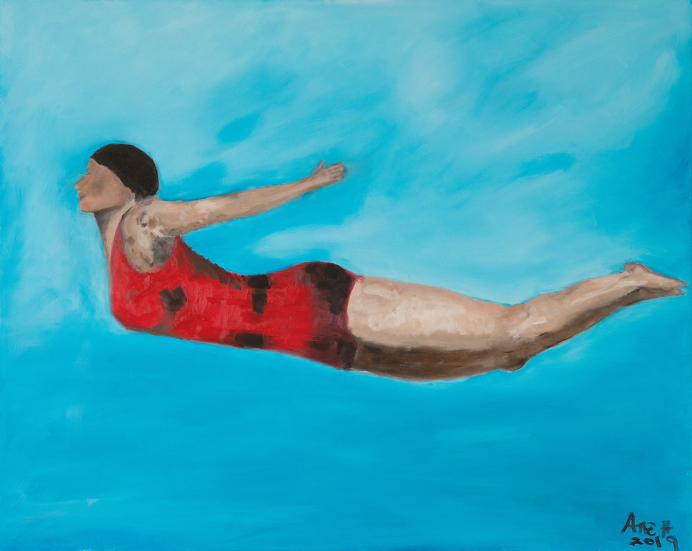 """The Diver"" print from an original oil painting by Ane Howard - Vibrant colors and timeless diver."