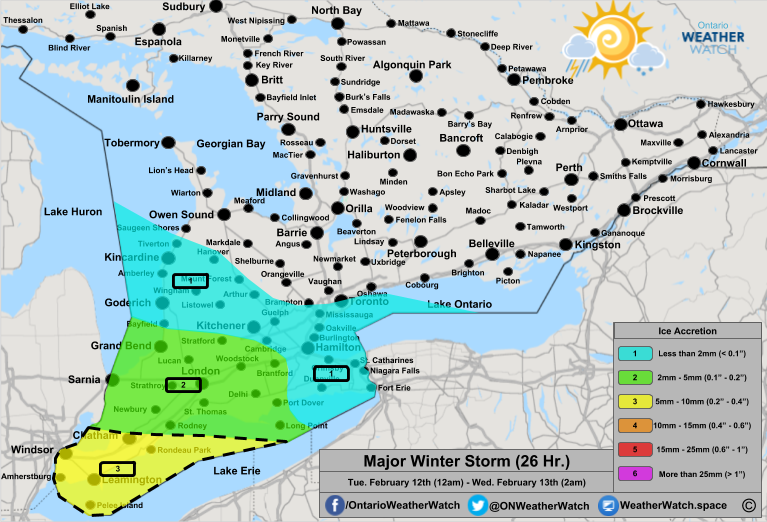 Freezing Rain Forecast, for Southern Ontario. Issued: February 11th, 2019.