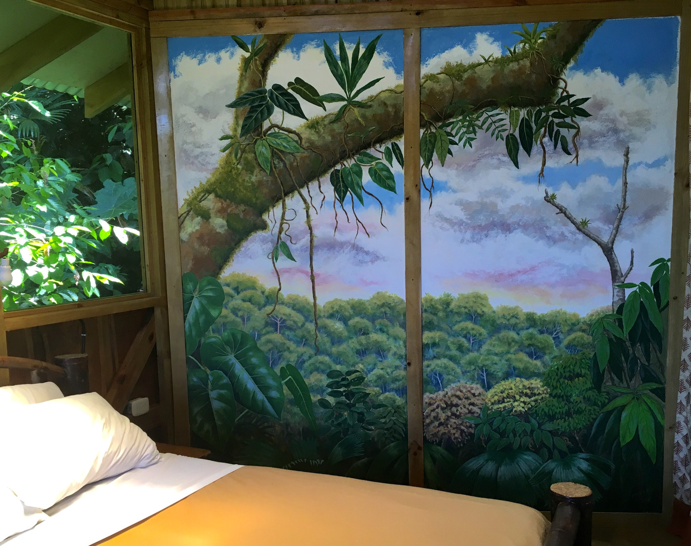 Main bedroom with mirror view mural