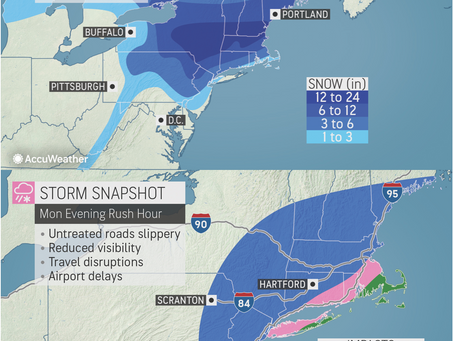 ACCUWEATHER METEOROLOGISTS PROVIDE UPDATE ON MONDAY EVENING RUSH HOUR SNOW IN NORTHEAST