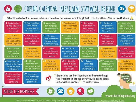 Coping Calendar: Keep Calm. Stay Wise. Be Kind