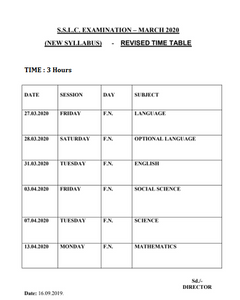 10th Public Exam Time Table 2020