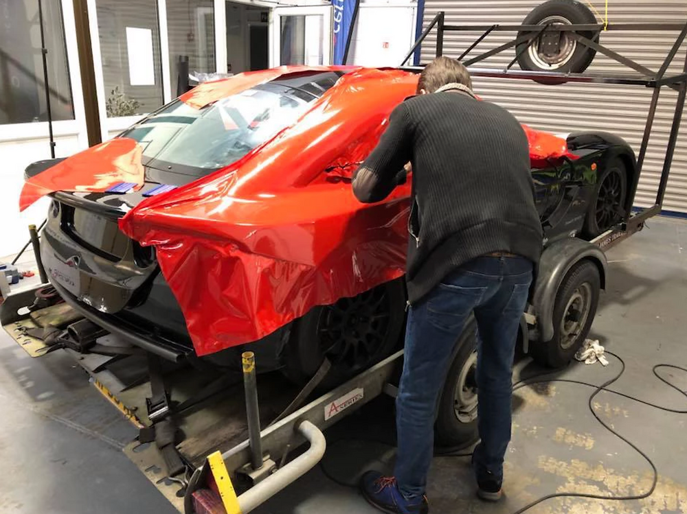 Image showing a Ginetta G40 race car being vinyl wrapped at Autowrap Centre Liverpool