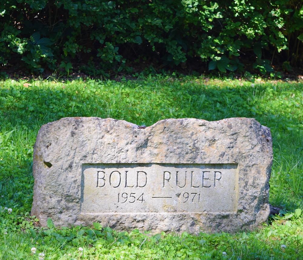 Bold Ruler grave at Claiborne Farm, sire of Secretariat.