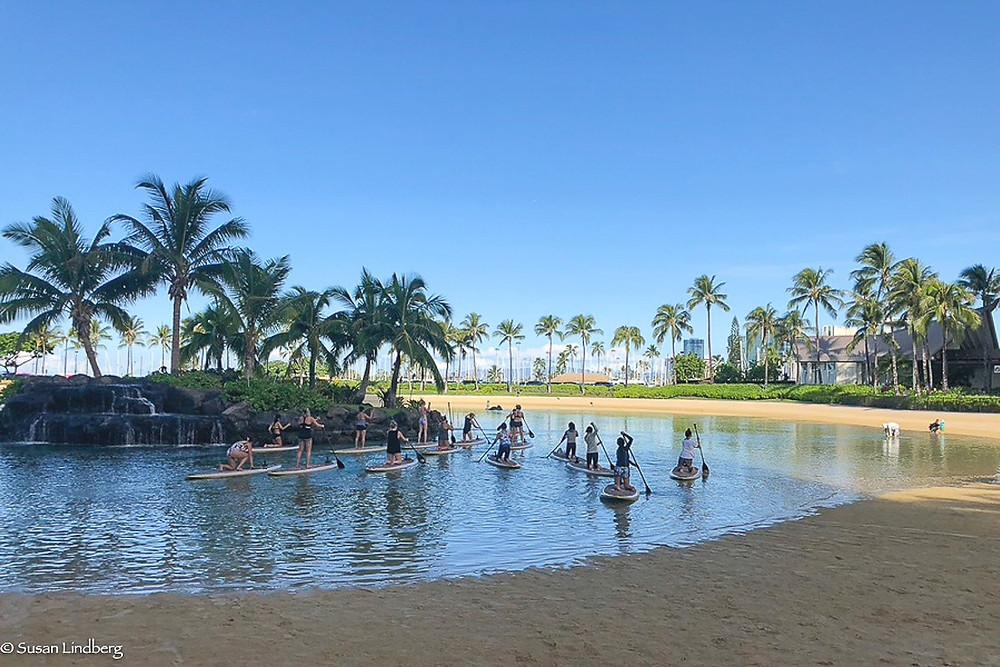 paddle boarding on lagoon at Waikiki Beach