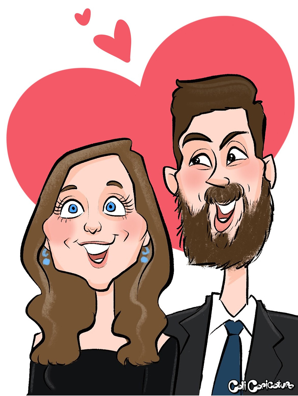 cute couple caricature digital caricatures drawing couples cartoon faces portrait hearts love romance romantic