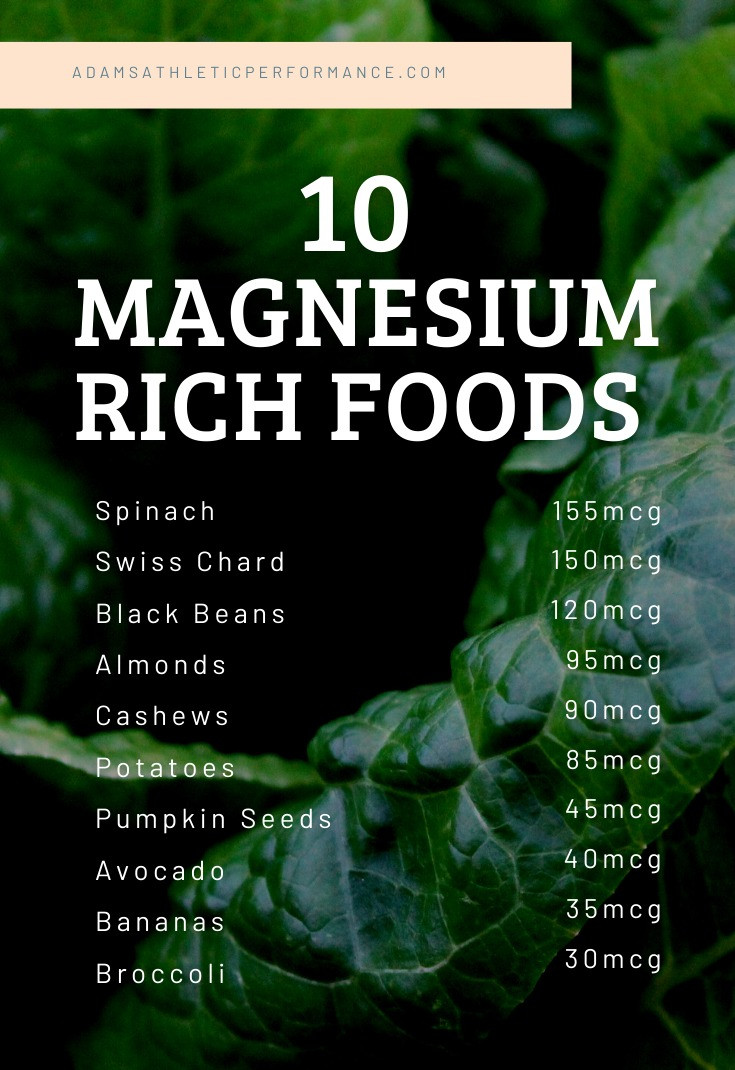 10 Magnesium Rich Foods and the benefits.