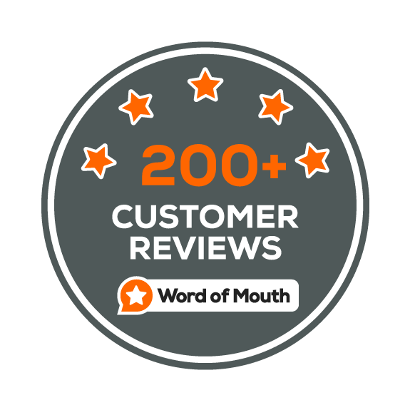 200+ CUSTOMER REVIEWS ON WORD OF MOUTH!