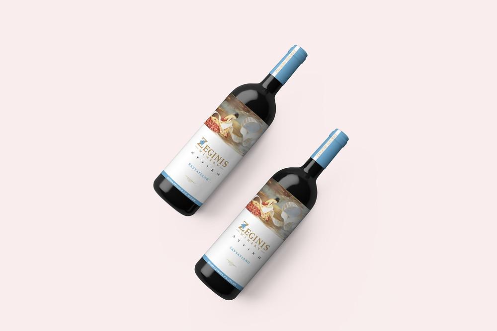 """Λευκό κρασί Ζεγγίνης σε γυάλινο μπουκάλι και νέα ρομαντική ετικέτα με τον πίνακα """"Ποίηση"""" της ζωγράφου Βαρβάρας Γεροδήμου"""