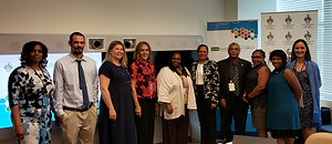 Left-Right: Anya Thomas, UNDESA; Justin Heavey, SUNY College of Environmental Science & Forestry; Dr. Helga Kleiven, University of Bergen; H.E. Lois M. Young, Permanent Representative of Belize to the UN; Diane Quarless, UN ECLAC; Dr. Stacy Richards-Kennedy, The University of the West Indies; Dr. David Smith, The University of the West Indies; Nicola Barber-Murphy, Permanent Mission of Jamaica; Ann-Marie Grant, The University of the West Indies; Dr. Hilligje van't Land, International Association of Universities.