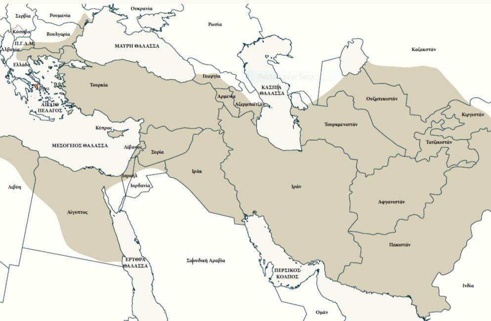 Χάρτης όπου σημειώνονται τα όρια της περσικής αυτοκρατορίας το 490 π.Χ. («¨̔Ελλήνων προμαχου̃ντες ̓Αθηναι̃οι Μαραθω̃νι...», Εκπαιδευτικό πρόγραμμα στο Μουσείο του Μαραθώνα).