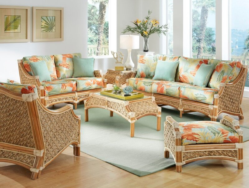 Example of bad use of rattan, an outdated rattan patio set from Wayfair with teal and coral palm leaf print design