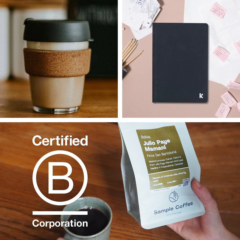 A KeepCup, Karst notebook, and coffee bag with a B Corp logo.