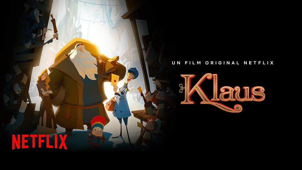 The poster for Klaus shows our three main characters standing together against a snowy white backdrop, surrounded by young children offering up their letters.