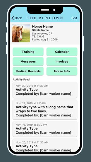 The Rundown App, stable management app, horse racing app