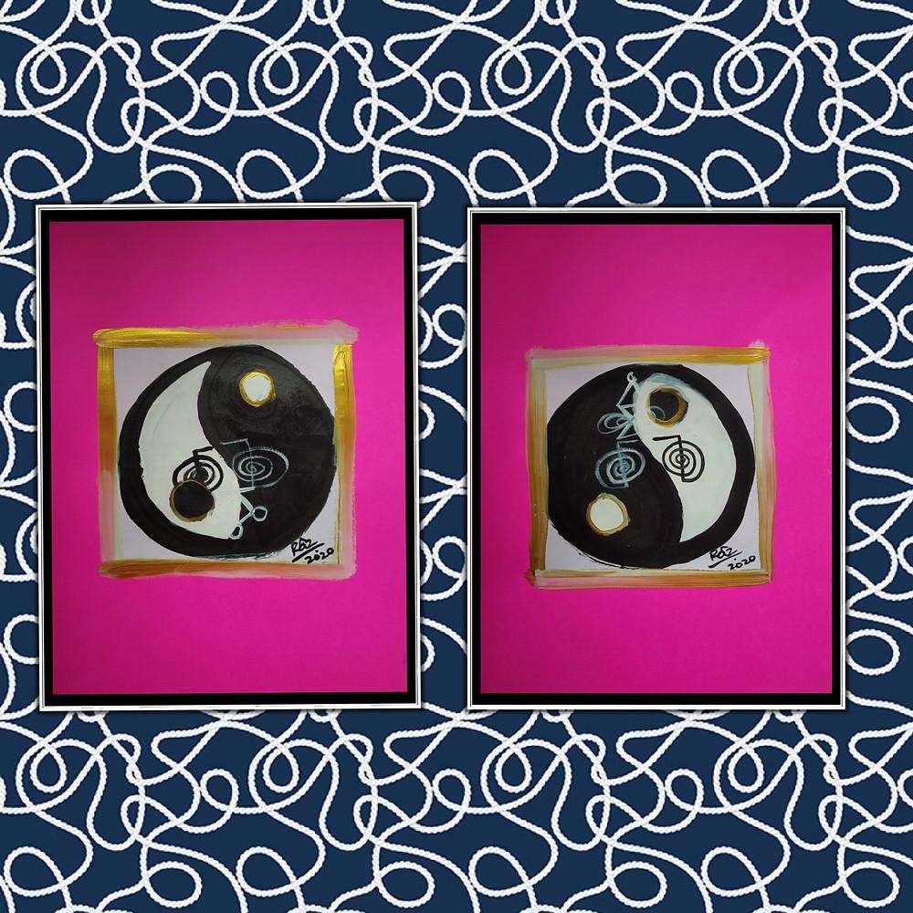 Yin Yang pair of paintings sale
