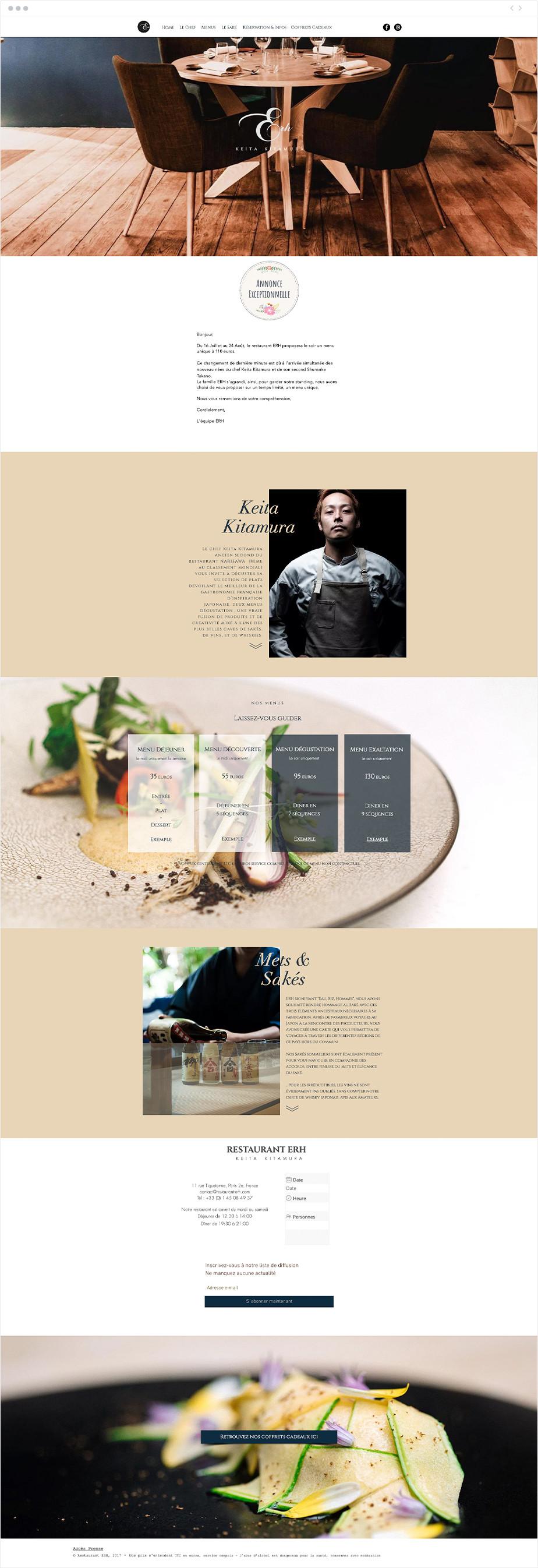Exemples de site one-page - Erh