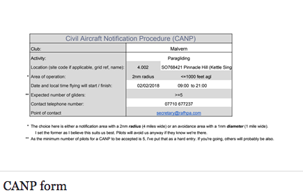 CANP/NOTAM XC flights for safety