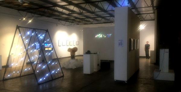 A last look down the gallery. My work is behind the back moveable wall.