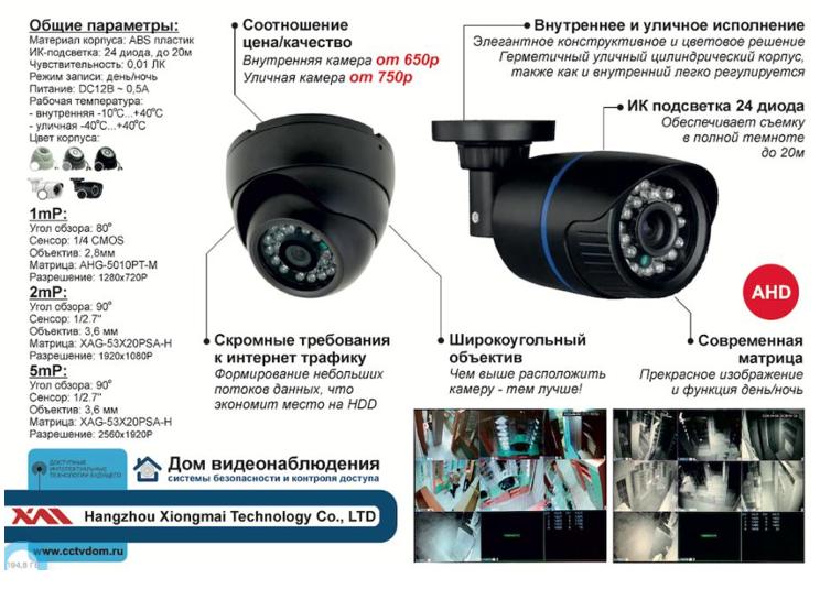 ahdt камеры видеонаблюдения внутренние и уличные