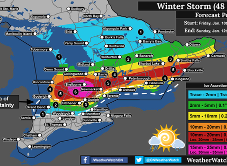 Significant Ice Storm, Record Rainfall and Heavy Snow across Ontario
