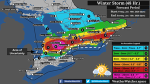 Freezing Rain Forecast, for Southern Ontario. Issued January 10th, 2020.