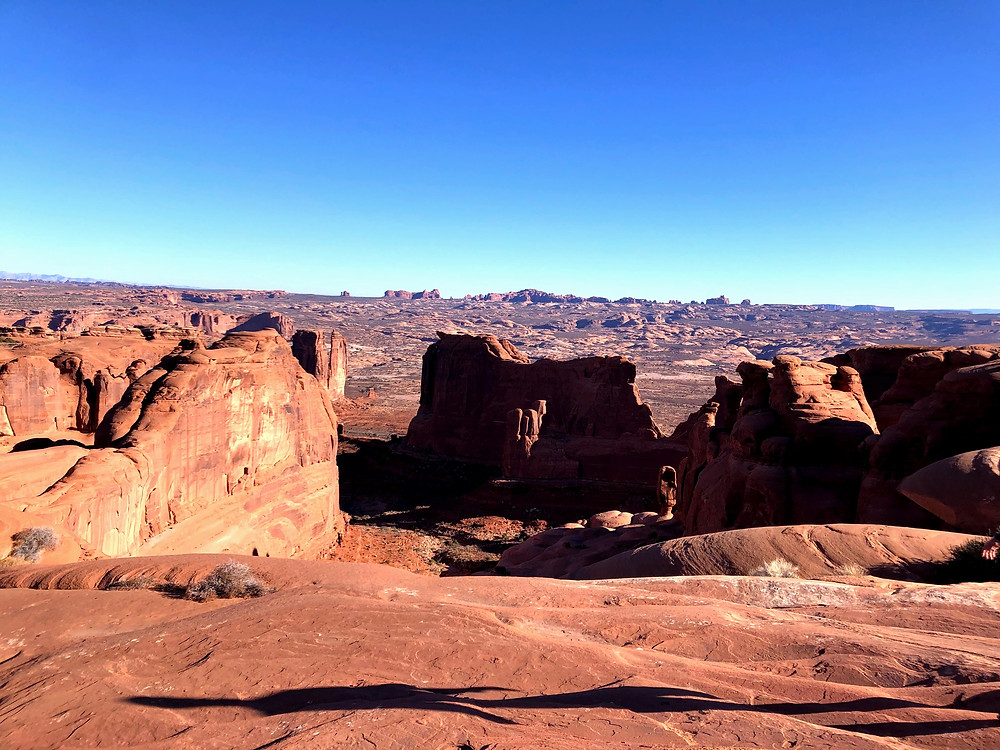 Overview of Arches National Park in Utah.