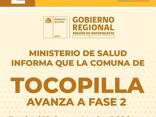 TOCOPILLA HOY AVANZA A  FASE 2