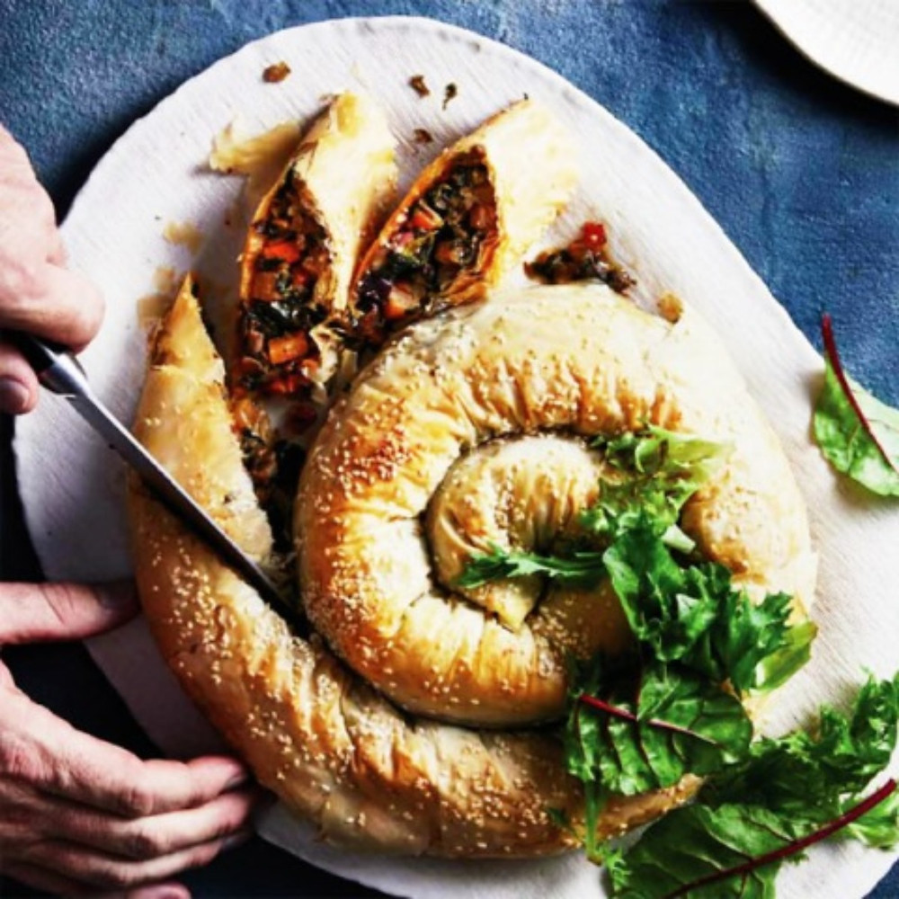 Spinach, Cheese And Winter Vegetable Pastry Coil