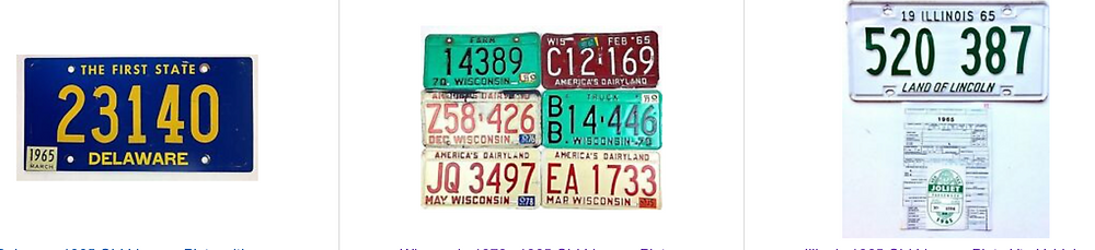 1965 License Plates