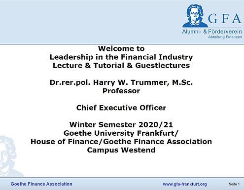Dr. Trummer starts off Leadership Lecture live via Zoom, Nov 2nd, 2020