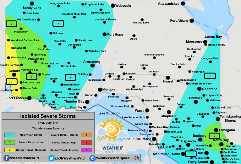Thunderstorm Forecast, for Northern Ontario. Issued July 11th, 2019.