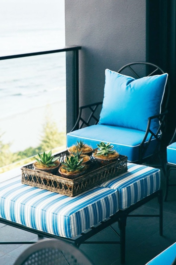 Decorating your outdoor space can be as simple as adding bright color furniture. Try to opt for ottomans in place of the coffee table so that it can also act as a footrest. In this way, you will be able to use it as a coffee table merely by adding a serving tray or just lounge in your comfy pajamas.