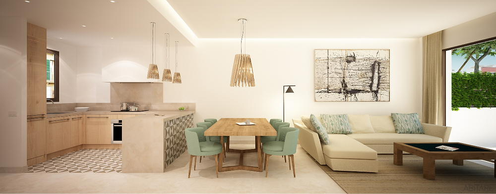 render of living area of Molinar Townhouse project
