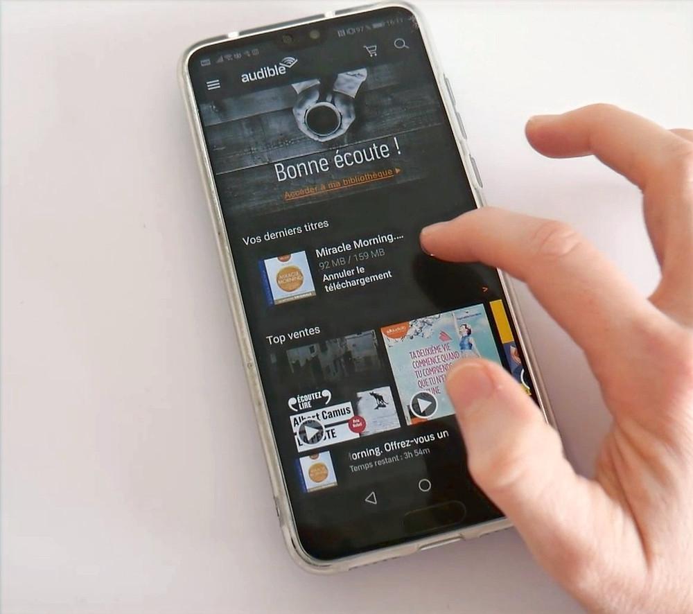 Application Audible sur smartphone