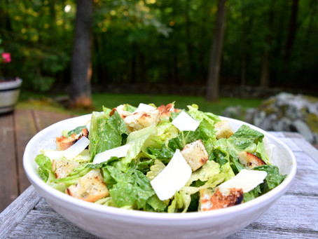 Caesar Salad with Avocado Dressing and Grilled Croutons