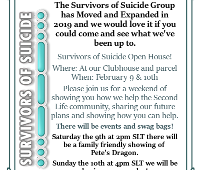 Survivors of Suicide Welcome you to our Open House this weekend!