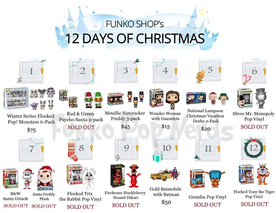12 Days Of Christmas List.Full List Of Funko Shop 12 Days Of Christmas