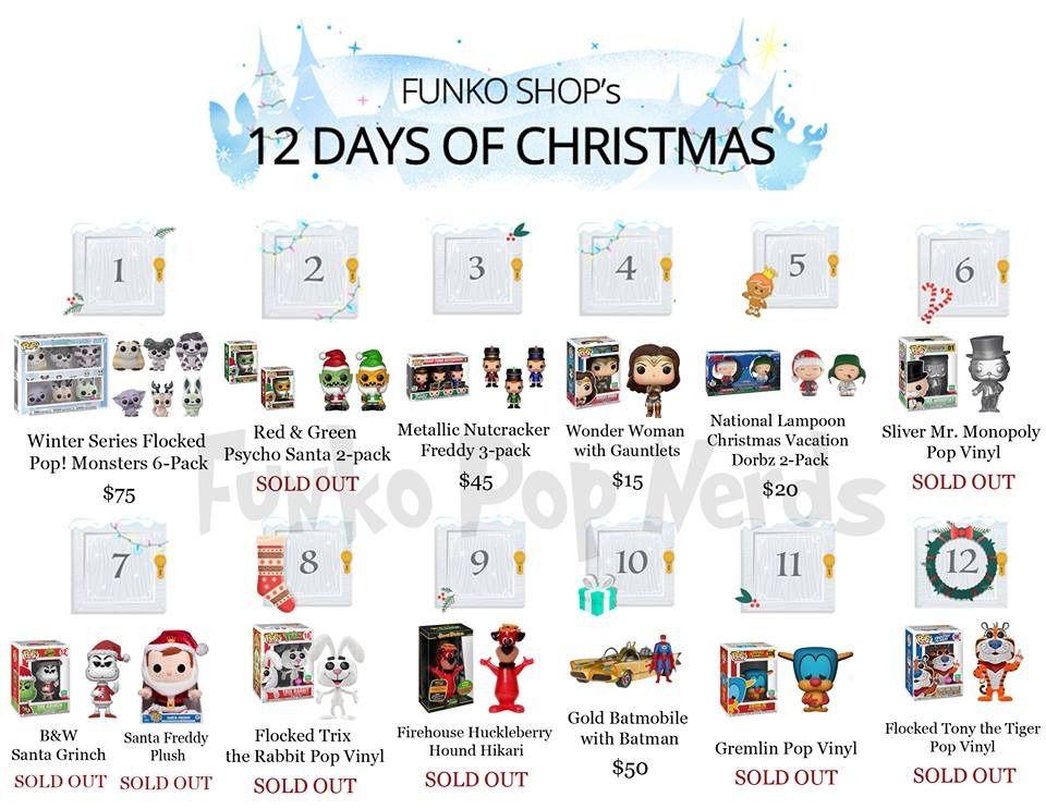full list of funko shop 12 days of christmas