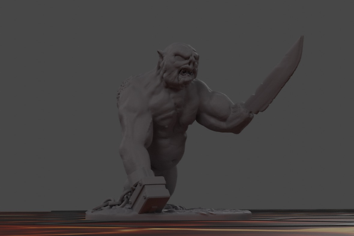 Fat Troll miniature, perfect for DnD and RPG, 28mm