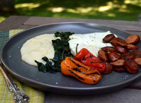 Cheesy Farina with Eggs and Chorizo Sausage