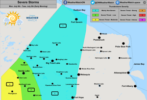 Thunderstorm Forecast, for Far Northern Ontario. Issued July 8th, 2019.