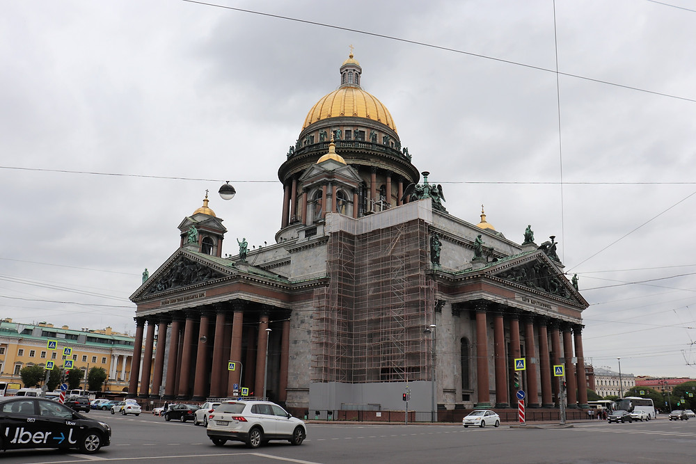 Saint Isaac's Cathedral with scaffolding around it on a cloudy day st petersburg russia