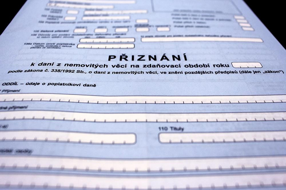 formulář daňového přiznání pro daň z nemovitých věcí