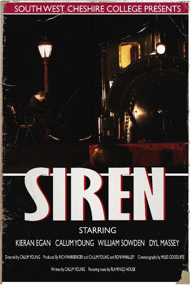 "A mysterious team train arrives at a station, to the wonder of a drunk young man. Bold white text reads ""Siren."""