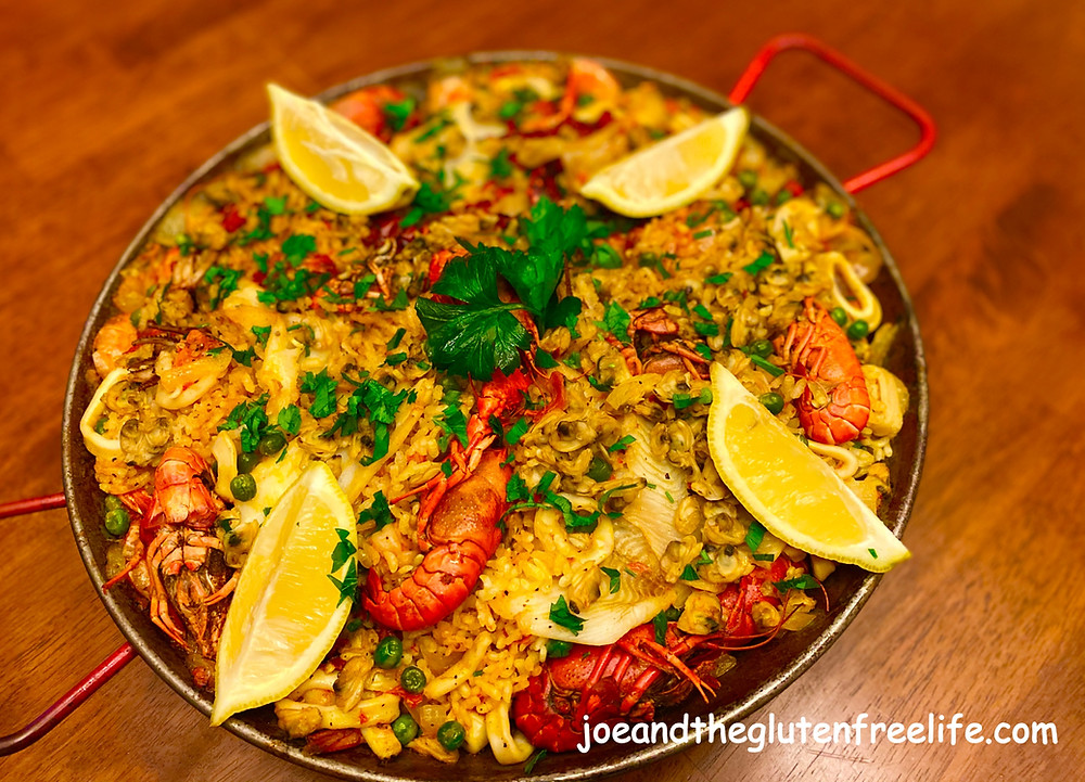 Paella with seafood and Andoulille Sausage